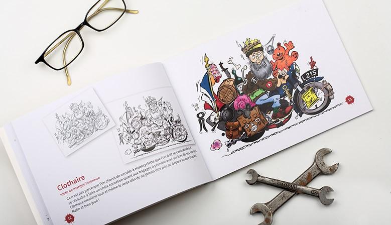 Livre de dessins de motos de Michel Loiseau